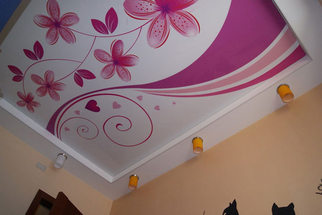 фото рисунки потолка из гипсокартона