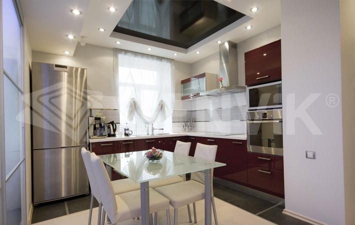 Фото двухуровневых натяжных потолков кухня