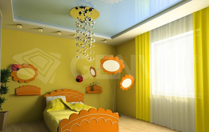 потолки натяжные фото в комнату