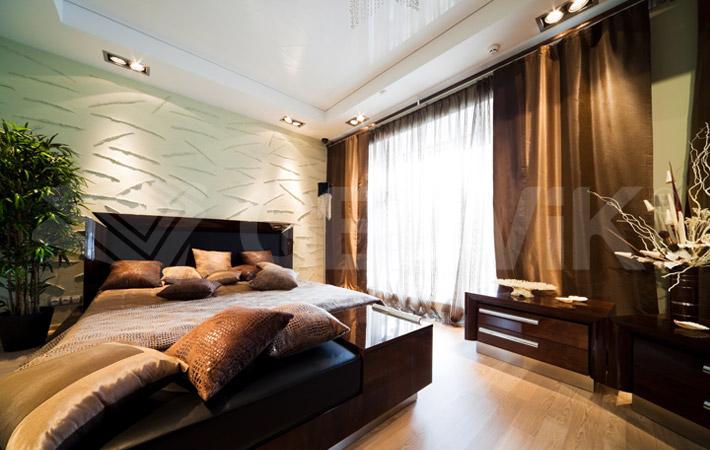 Натяжной потолок в спальне обзор цен фотографии отзывы